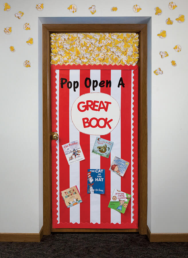 Pop open a great book popcorn movie theme door