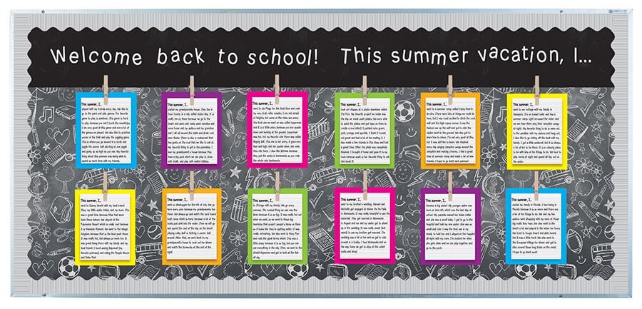 welcome back bulletin board summer vacation